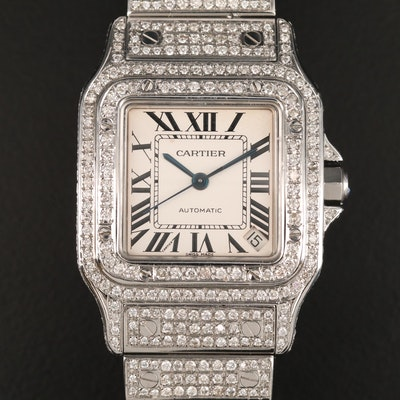 Cartier Santos Galbee XL Stainless Steel and 9.47 CTW Diamond Wristwatch