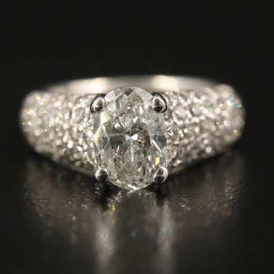 14K 2.71 CTW Diamond Ring with Pavé Shoulders