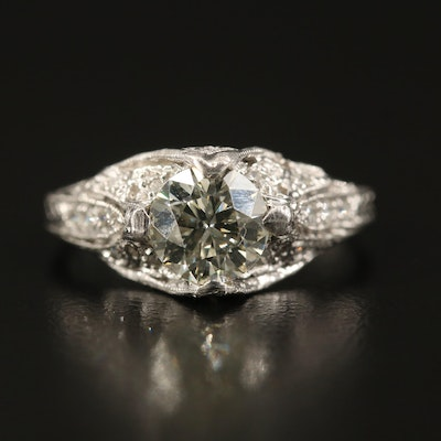 Vintage Platinum 1.23 CTW Diamond Milgrain Ring