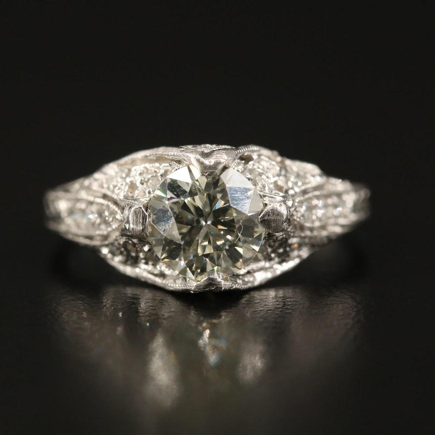 Vintage Platinum 1.23 CTW Diamond Milgrain Ring