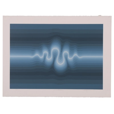 "Roy Alhgren Op Art Serigraph ""Oscillation,"" 1980"