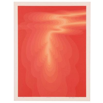 """Roy Ahlgren Op Art Serigraph """"Kīlauea,"""" 1978"""