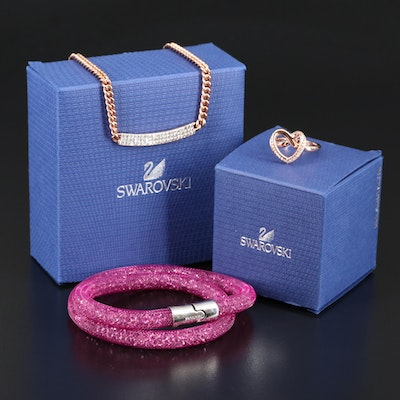 "Swarovski Assortment Featuring ""Vio"" Necklace and ""Cupidon"" Ring"