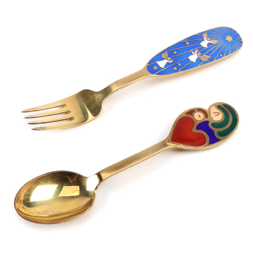 Anton Michelsen Enameled Sterling Christmas Spoon and Fork, Mid-20th C.