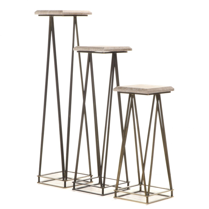 Industrial Style Metal and Travertine Top Graduated Table Stands