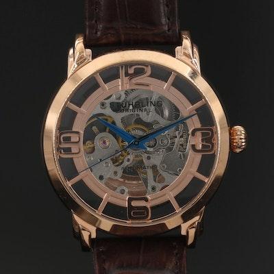 Stuhrling Skeletal Case Stainless Steel Automatic Wristwatch
