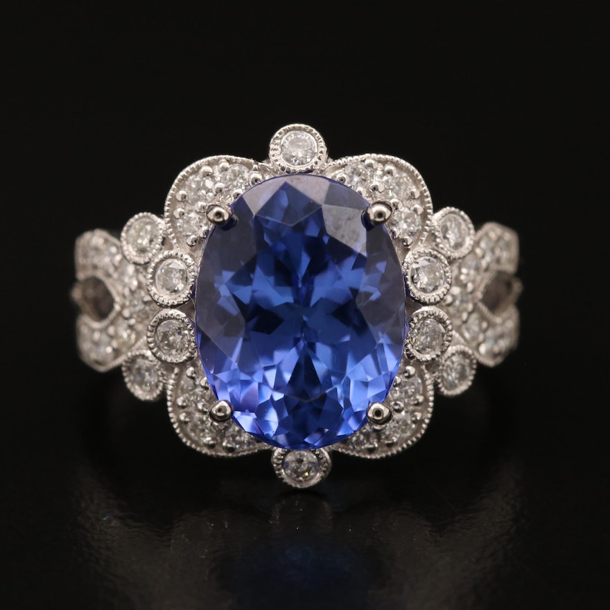 Platinum 5.15 CT Tanzanite and Diamond Ring with Scalloped Trim