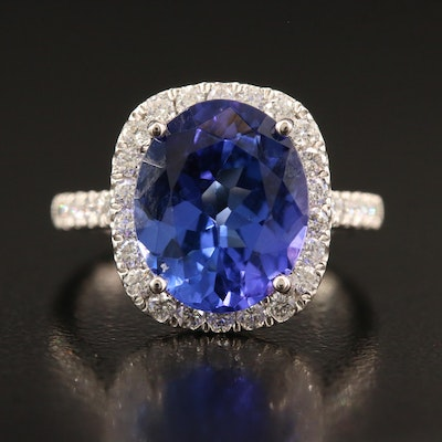 Platinum 4.60 CT Tanzanite and Diamond Ring
