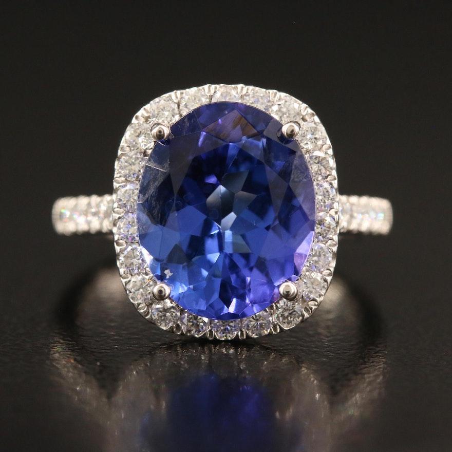 Platinum 4.60 CT Tanzanite and Diamond Ring