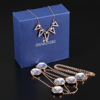 "Swarovski ""Globe Strandage"" Necklace and ""Funk"" Graduated Necklace"
