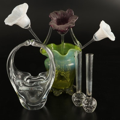 Blown Glass Basket Vases, Controlled Bubble Bud Vases, and Flowers