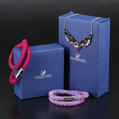 "Swarovski Jewelry Featuring ""Impulse"" Necklace and ""Stardust"" Wrap Bracelets"