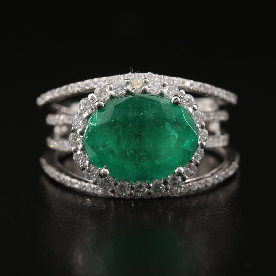 Platinum 3.54 CT Emerald and Diamond Halo Ring