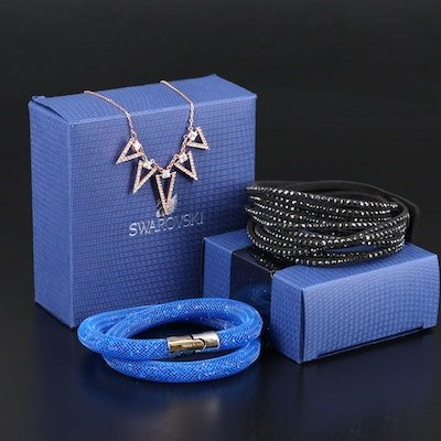 "Swarovski Jewelry Featuring ""Funk"" Graduated Necklace and Suede Wrap Bracelet"
