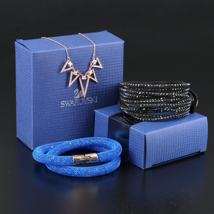"Swarovski Jewelry Featuring ""Funk"" Graduated Necklace and ""Stardust"" Bracelet"