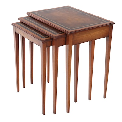 "Henredon ""Heritage"" Mahogany Embossed Leather Top Nesting Tables"