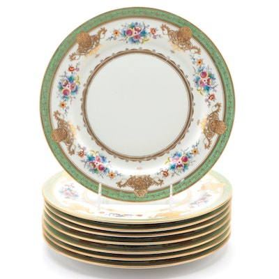 Noritake Encrusted Dinner Plates with Floral Motif, Mid-20th Century