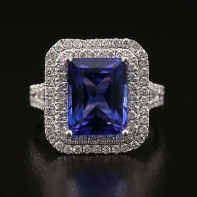 Platinum 5.03 CT Tanzanite and 1.02 CTW Diamond Double Halo Ring