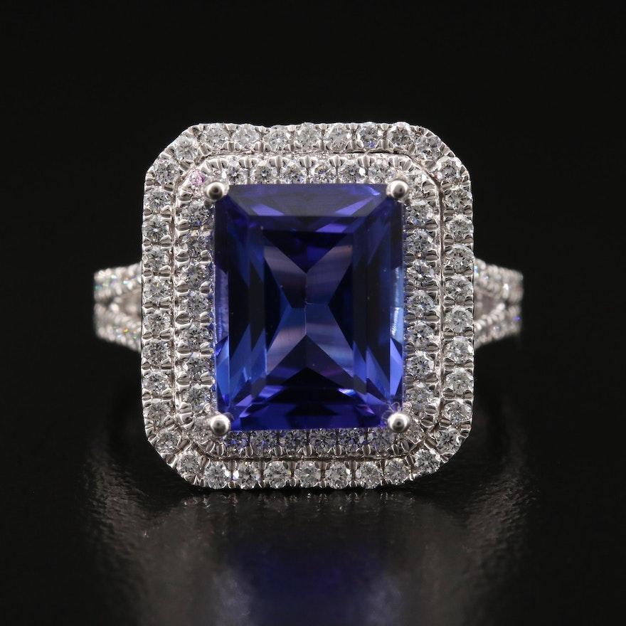 Platinum 5.03 CT Tanzanite and 1.02 CTW Diamond Double Halo Ring
