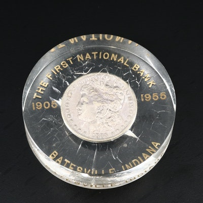 1885 Morgan Silver Dollar in Lucite First National Bank of Batesville, IN Holder