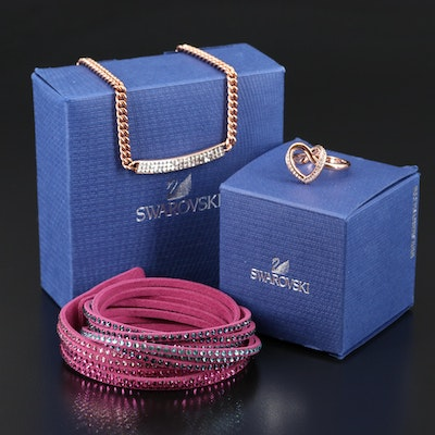 "Swarovski Suede Wrap Bracelet, ""Cupidon"" Ring and ""Vio"" Stationary Necklace"