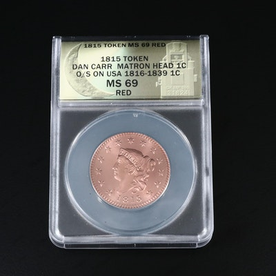 ANACS Graded MS69 Red Dan Carr 1815 Coronet Liberty Large Cent Fantasy Token
