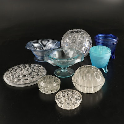 Art Deco and Depression Glass Flower Frogs, Rose Bowls, and Centerpiece Bowls