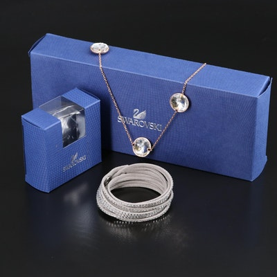 "Swarovski Suede Wrap Bracelet and ""Globe Strandage"" Necklace"