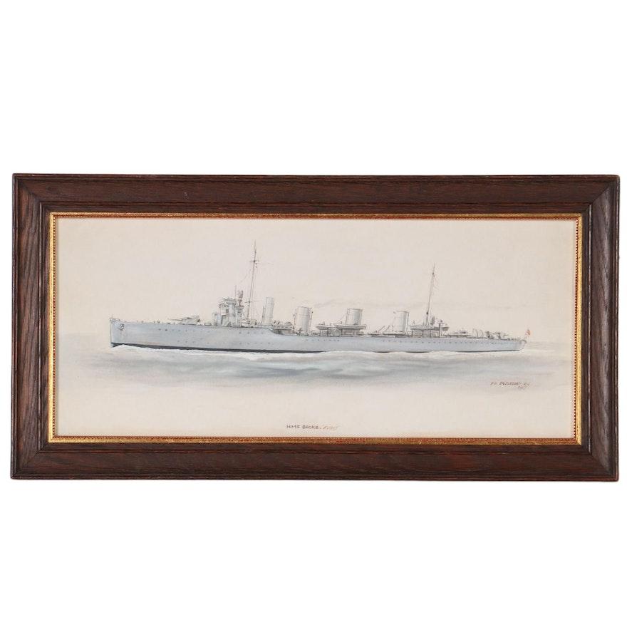 """Petty Officer Ingleson Naval Watercolor Painting """"HMS Broke, 'Evans',"""" 1917"""
