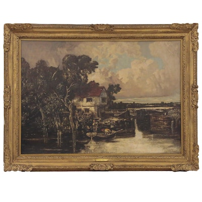 Romanticism Style River Stour Landscape Oil Painting, Mid-19th Century