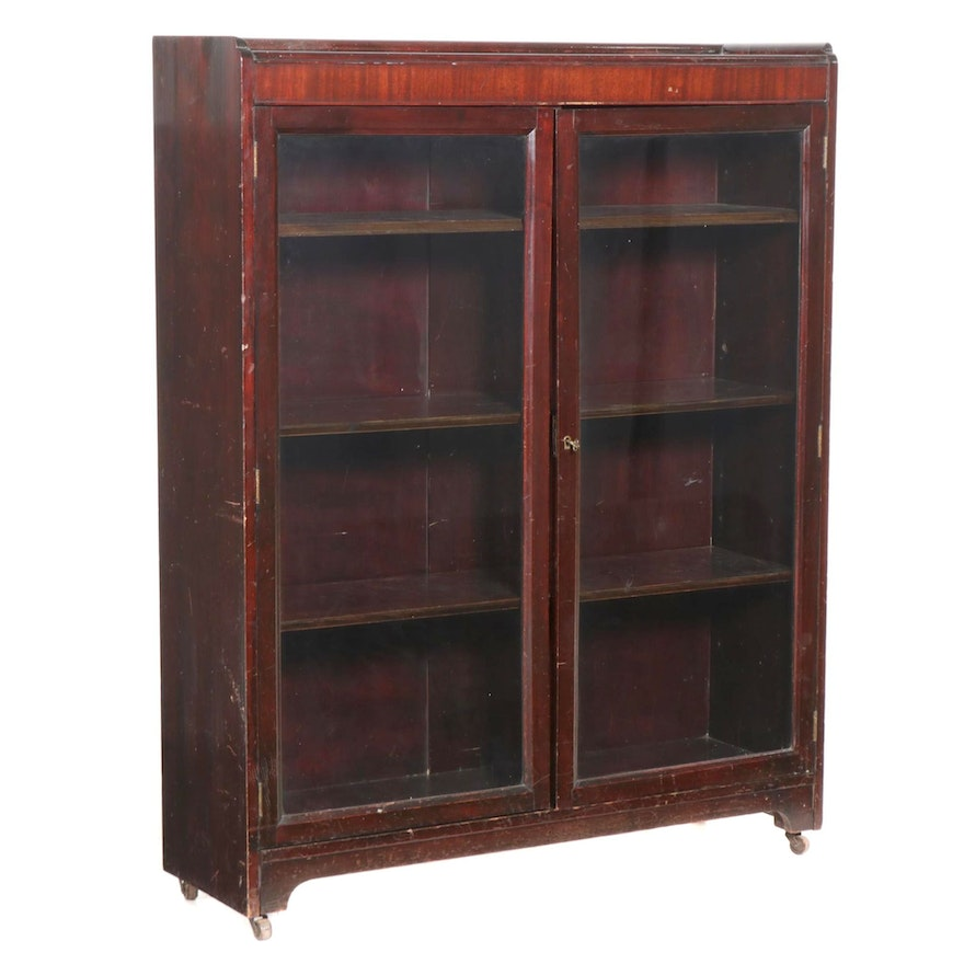 Mahogany Glass Front Bookcase, Early to Mid 20th Century
