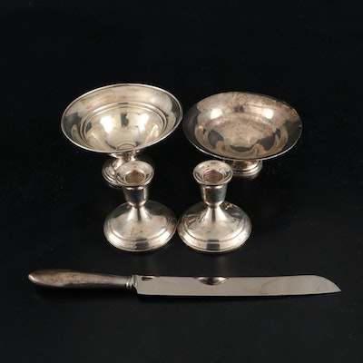 Towle, Crown, and Other Sterling Silver Bowls, Candlesticks, and Bread Knife