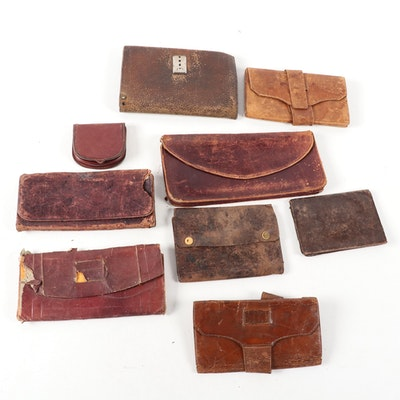 """Antique Leather Accessories with Pouch Stenciled """"Capt. J.H. Allen 12th RI Inf"""""""