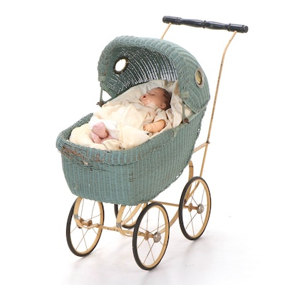 Repainted Composition Baby Doll in Wicker Stroller, Early to Mid 20th Century