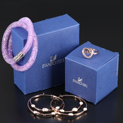 Swarovski Assortment Featuring Gaze Hoop Earrings and Cupidon Ring