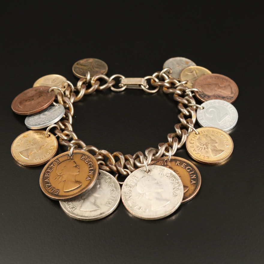 Vintage Charm Bracelet with Coins from Around the World
