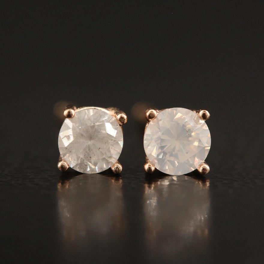 14K 0.38 CTW Diamond Solitaire Stud Earrings