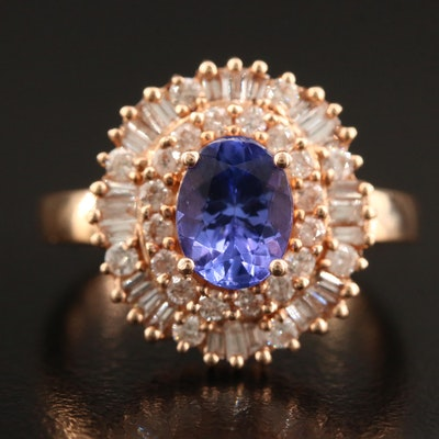 14K Tanzanite and Diamond Double Halo Ring