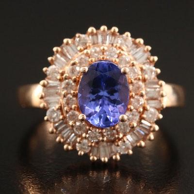 14K Tanzanite and Diamond Double Halo Ring