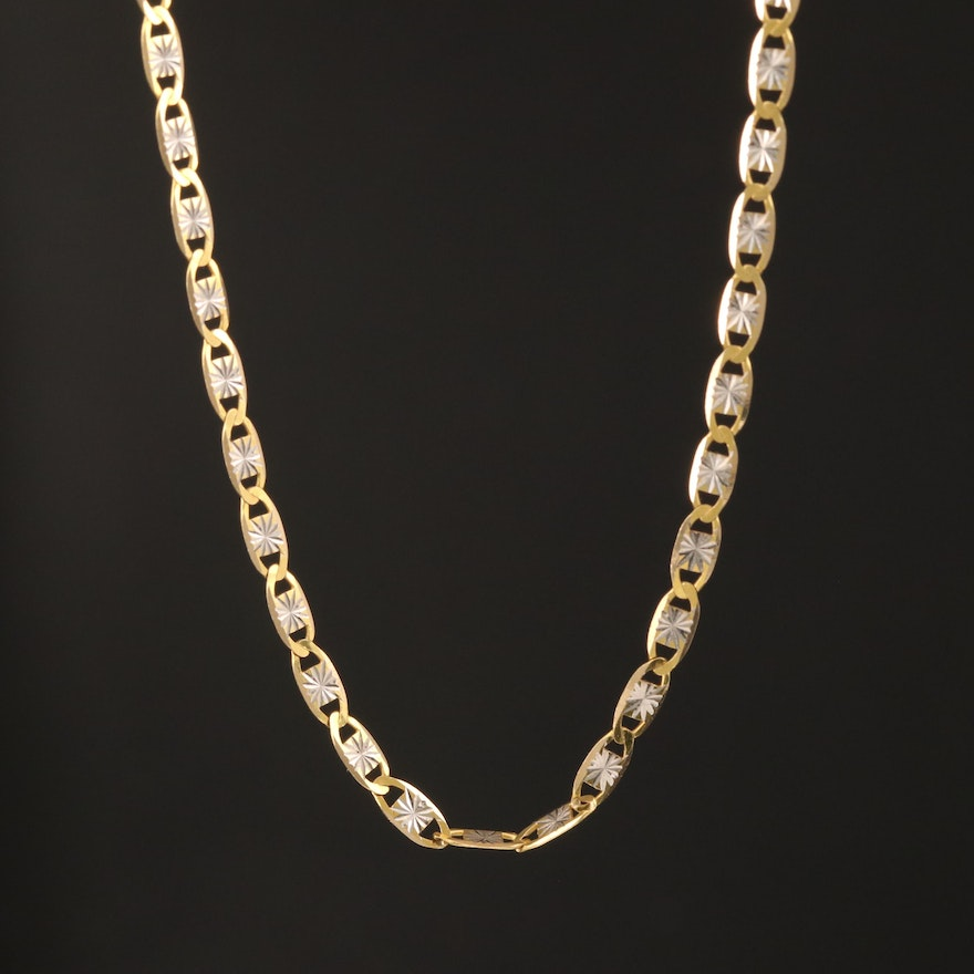 14K Patterned Mariner Style Chain Necklace