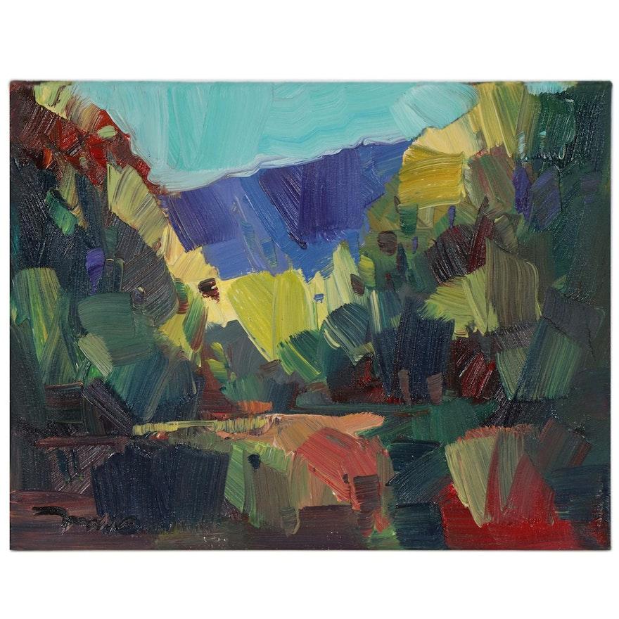 "Jose Trujillo Oil Painting ""Mountain Range,"" 2020"