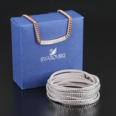 "Swarovski ""Vio"" Necklace and Suede Wrap Bracelet"