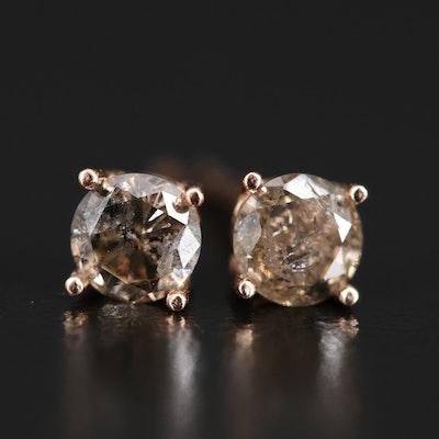 14K 0.71 CTW Light Brown Diamond Stud Earrings