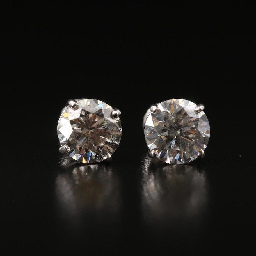14K 3.10 CTW Diamond Stud Earrings
