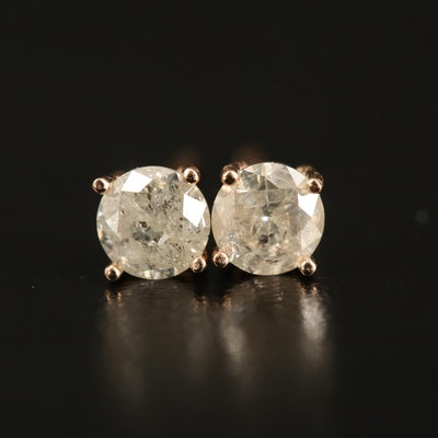 14K Rose Gold 0.70 CTW Diamond Stud Earrings