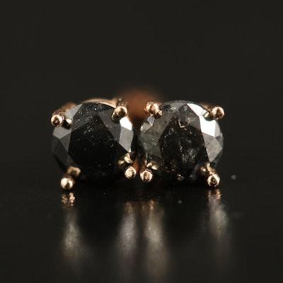 14K 0.73 CTW Black Diamond Stud Earrings