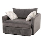 """Crate & Barrel """"Lounge II"""" Charcoal-Upholstered Chair-and-a-Half"""