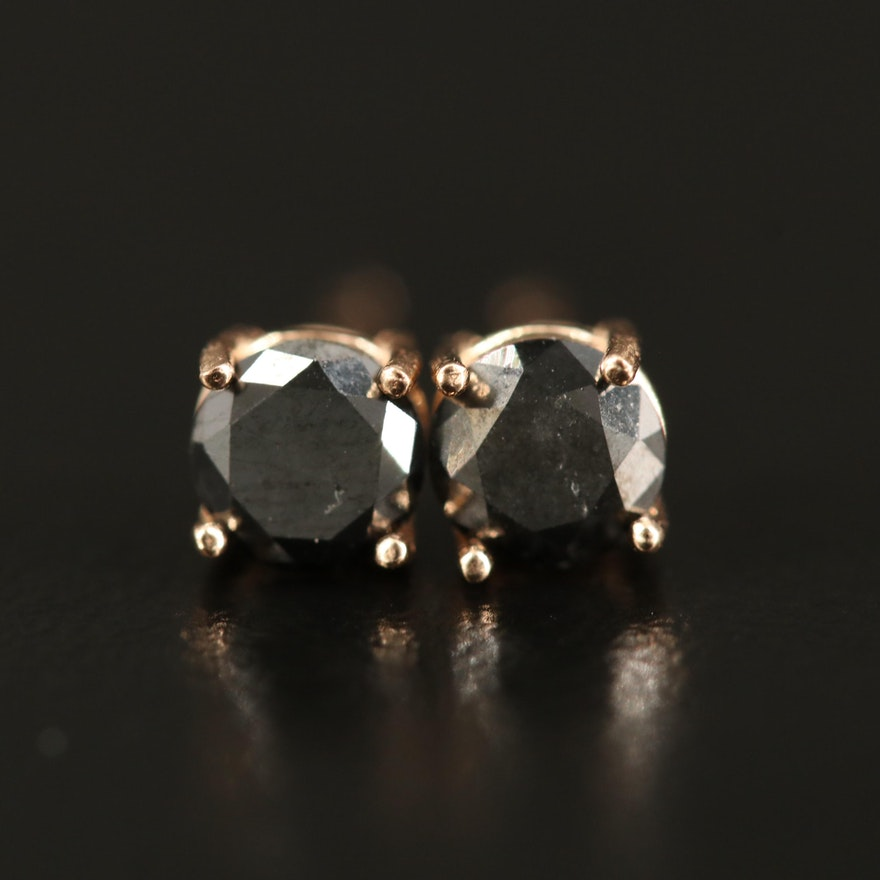14K 0.70 CTW Black Diamond Stud Earrings