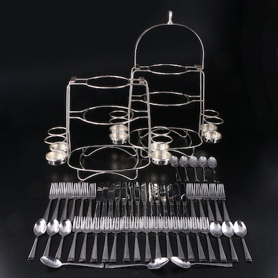 "International ""Satin Mason"" Stainless Steel Flatware with Buffet Serving Stands"