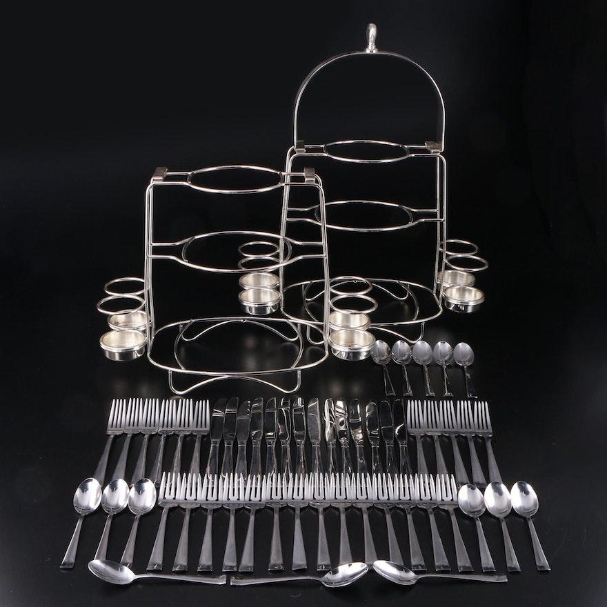 "International ""Satin Mason"" Stainless Steel Flatware with Buffet Serving Stands"